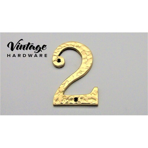 POLISHED BRASS TEXTURED NUMERAL # 2