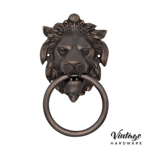 ANTIQUE BRASS, LION, FACE FIX, DOOR KNOCKER