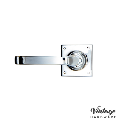 CHROME PLATE, HAMPTON, LATCH DOOR HANDLE ON SQUARE ROSE