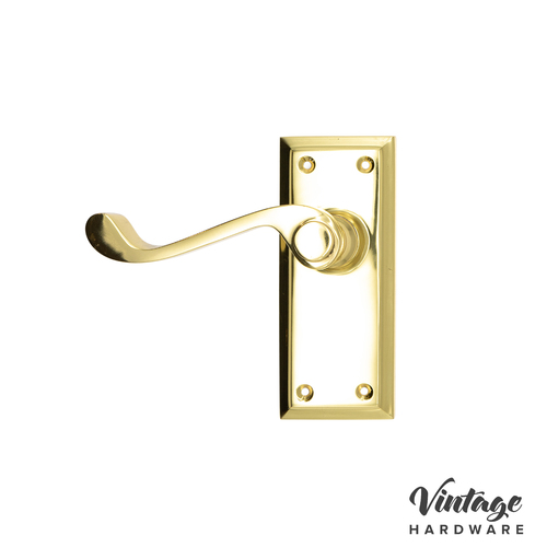 POLISHED BRASS, COLONIAL LEVER SHORTPLATE DOOR HANDLE