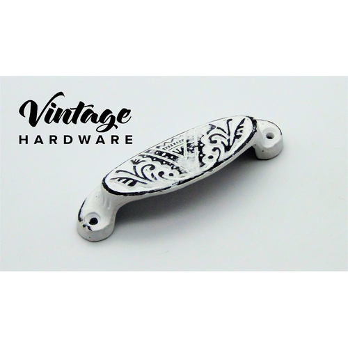DISTRESSED WHITE, IRON, OVAL DRAWER PULL
